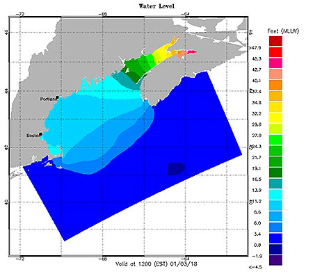Gulf of Maine OFS Water Level Map Plot