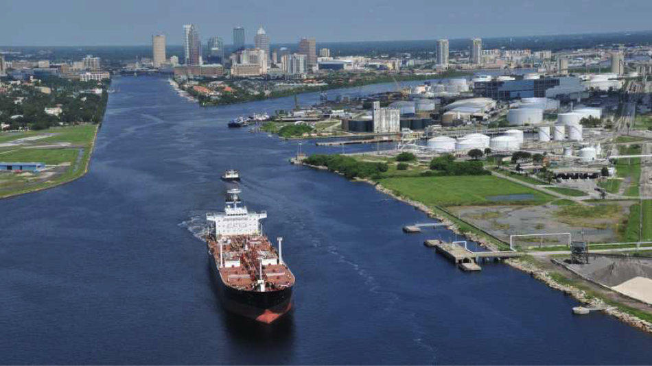 Photo credit: Port of Tampa. A ship transits up the marine channel in Tampa Bay.