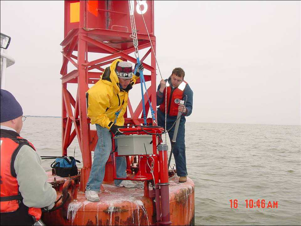 Current meter installation on a Coast Guard buoy