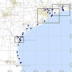 Texas Coastal Ocean Observation Network network map
